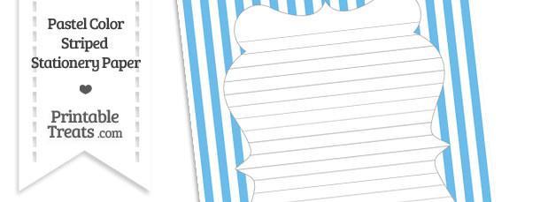Pastel Blue Striped Stationery Paper