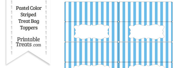 Pastel Blue Striped Treat Bag Toppers