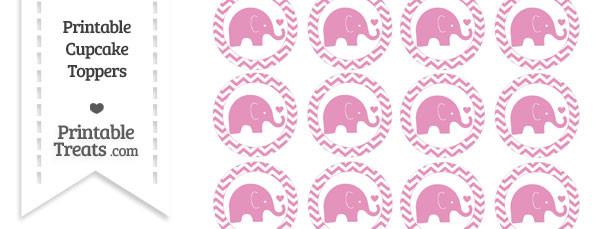 Pastel Bubblegum Pink Baby Elephant Chevron Cupcake Toppers