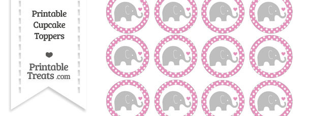 Pastel Bubblegum Pink Polka Dot Baby Elephant Cupcake Toppers
