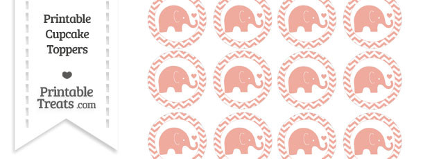 Pastel Coral Baby Elephant Chevron Cupcake Toppers