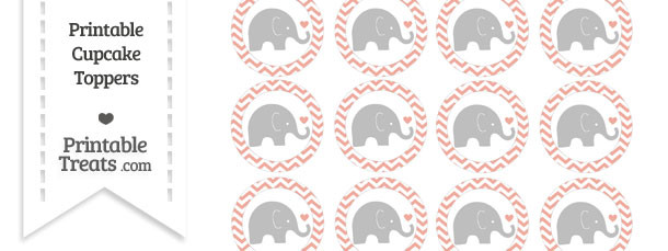 Pastel Coral Chevron Baby Elephant Cupcake Toppers