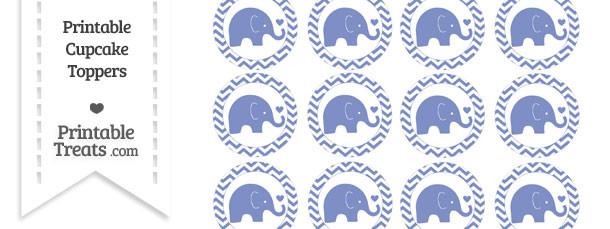 Pastel Dark Blue Baby Elephant Chevron Cupcake Toppers