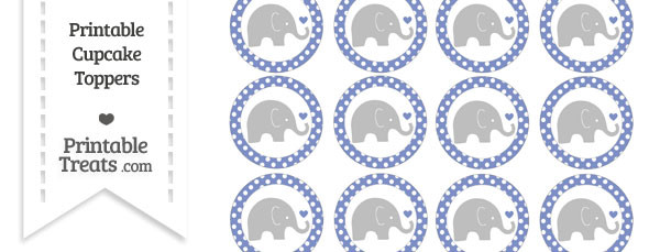 Pastel Dark Blue Polka Dot Baby Elephant Cupcake Toppers