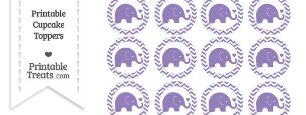 Pastel Dark Plum Baby Elephant Chevron Cupcake Toppers
