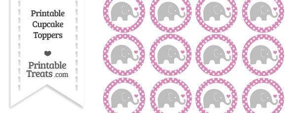 Pastel Fuchsia Polka Dot Baby Elephant Cupcake Toppers