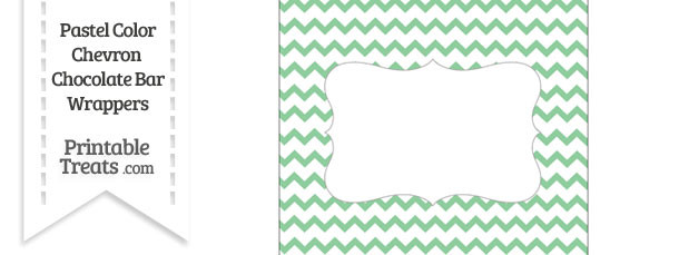 Pastel Green Chevron Chocolate Bar Wrappers