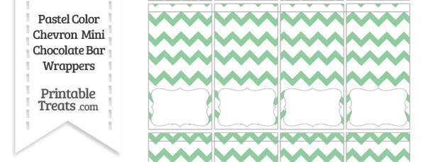 Pastel Green Chevron Mini Chocolate Bar Wrappers