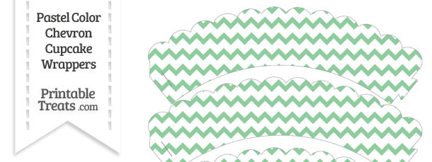 Pastel Green Chevron Scalloped Cupcake Wrappers