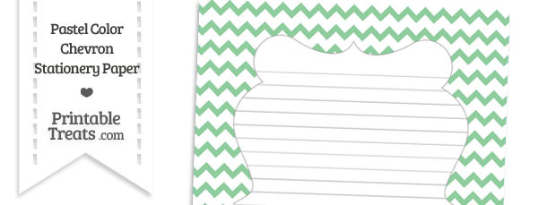 Pastel Green Chevron Stationery Paper