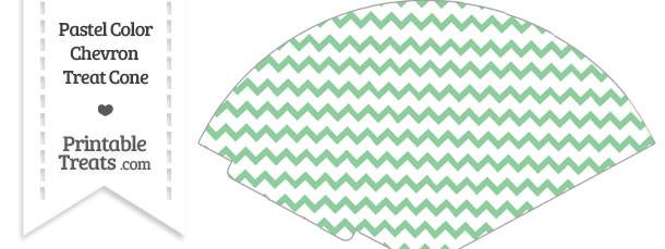 Pastel Green Chevron Treat Cone