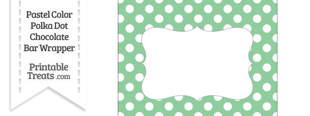 Pastel Green Polka Dot Chocolate Bar Wrappers