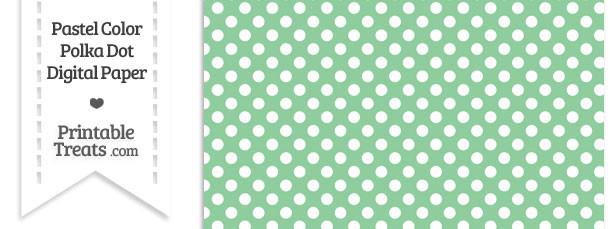Pastel Green Polka Dot Digital Scrapbook Paper