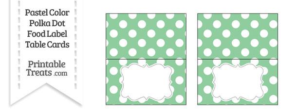 Pastel Green Polka Dot Food Labels