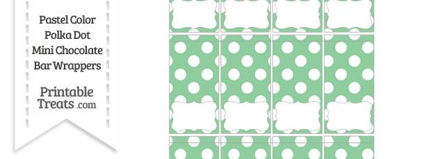 Pastel Green Polka Dot Mini Chocolate Bar Wrappers