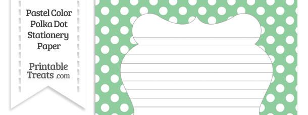 Pastel Green Polka Dot Stationery Paper