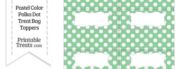 Pastel Green Polka Dot Treat Bag Toppers