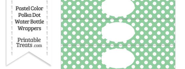 Pastel Green Polka Dot Water Bottle Wrappers