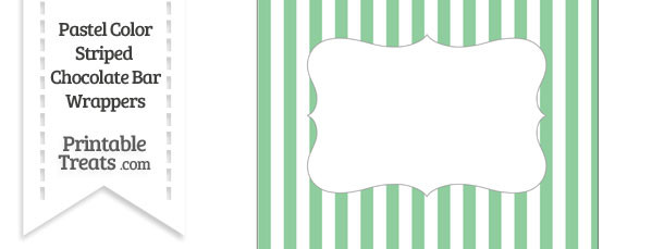 Pastel Green Striped Chocolate Bar Wrappers