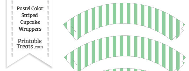 Pastel Green Striped Cupcake Wrappers