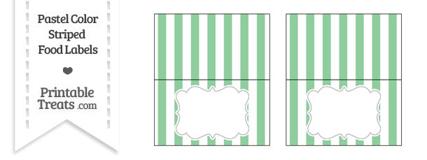Pastel Green Striped Food Labels