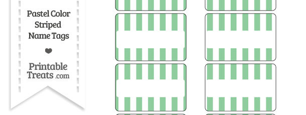 Pastel Green Striped Name Tags