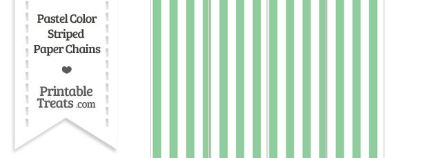 Pastel Green Striped Paper Chains