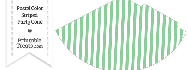 Pastel Green Striped Party Cone