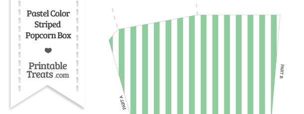 Pastel Green Striped Popcorn Box
