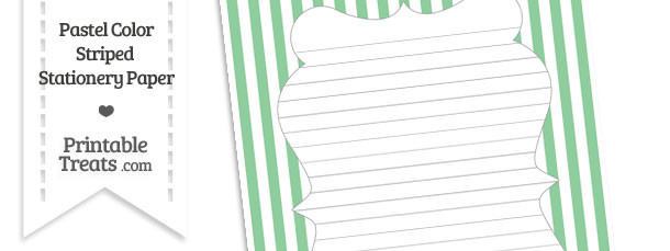 Pastel Green Striped Stationery Paper