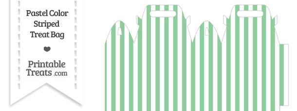 Pastel Green Striped Treat Bag