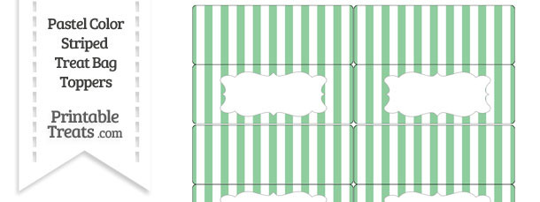 Pastel Green Striped Treat Bag Toppers