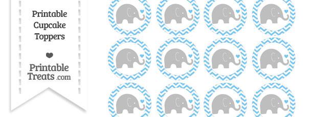 Pastel Light Blue Chevron Baby Elephant Cupcake Toppers