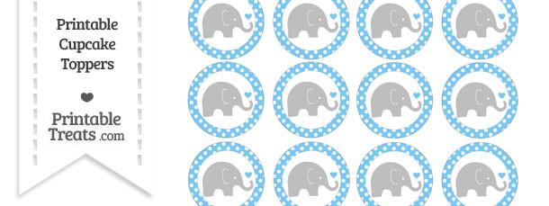 Pastel Light Blue Polka Dot Baby Elephant Cupcake Toppers