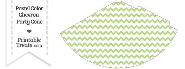 Pastel Light Green Chevron Party Cone