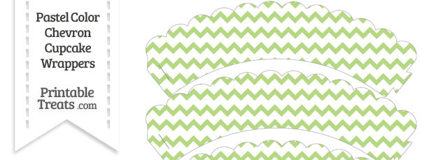 Pastel Light Green Chevron Scalloped Cupcake Wrappers