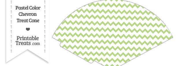 Pastel Light Green Chevron Treat Cone