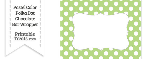 Pastel Light Green Polka Dot Chocolate Bar Wrappers