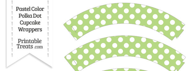 Pastel Light Green Polka Dot Cupcake Wrappers