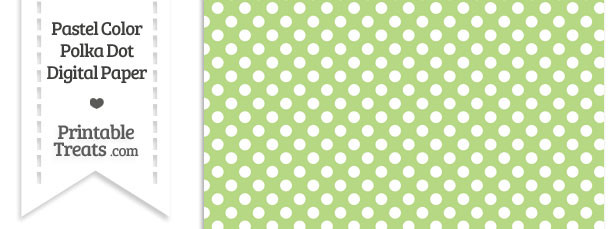 Pastel Light Green Polka Dot Digital Scrapbook Paper