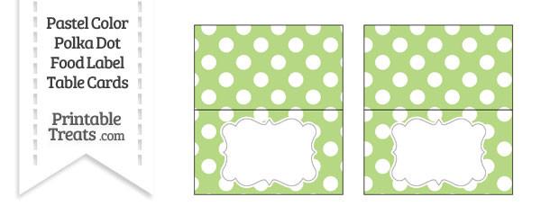Pastel Light Green Polka Dot Food Labels