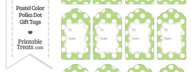 Pastel Light Green Polka Dot Gift Tags