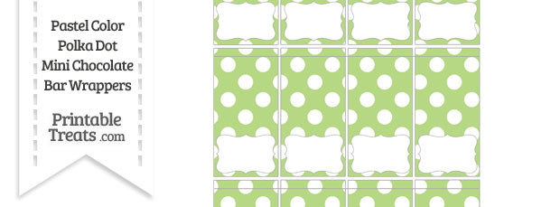 Pastel Light Green Polka Dot Mini Chocolate Bar Wrappers