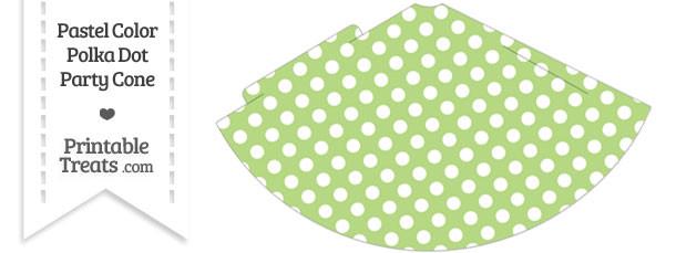 Pastel Light Green Polka Dot Party Cone