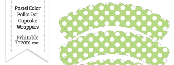 Pastel Light Green Polka Dot Scalloped Cupcake Wrappers