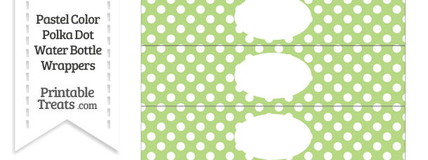 Pastel Light Green Polka Dot Water Bottle Wrappers