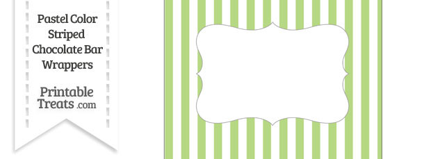 Pastel Light Green Striped Chocolate Bar Wrappers