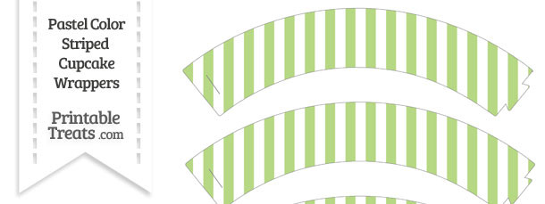 Pastel Light Green Striped Cupcake Wrappers