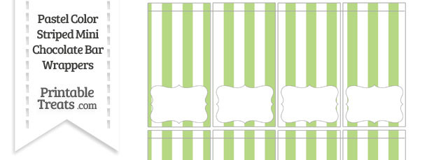 Pastel Light Green Striped Mini Chocolate Bar Wrappers
