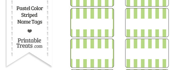 Pastel Light Green Striped Name Tags